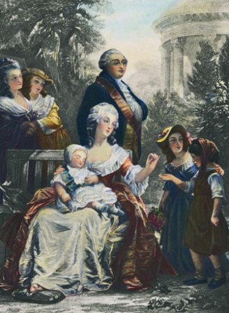 a royal family portrait in the Gardens at Petit Trianon