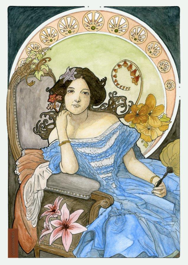 art nouveau rendition of la Condesa de Vilches