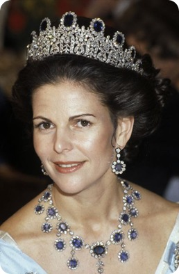 Queen Silvia of Sweden in the Leuchtenberg Sapphire Parure