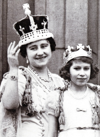 Queen Elizabeth and Princess Lilibet on George VI's Cornation Day 1937.