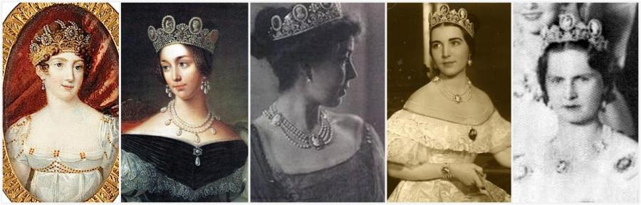 Cameo Tiara left to Right: Queen Hortense, Queen Josephine, Crown Princess Margaret, Princess Ingrid (later Queen of Denmark), Princess Sibyll