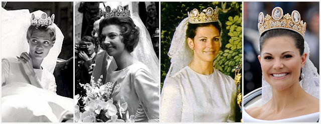 the Bernadotte brides in the traditional tiara