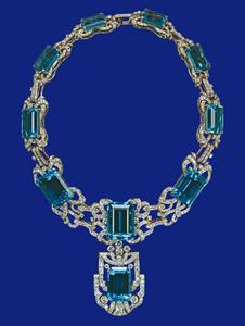 brazil aquamarine and diamond necklace
