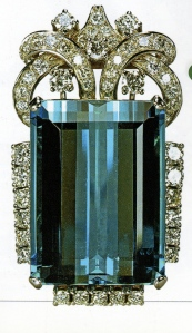 aquamarine and diamond brooch, 1958