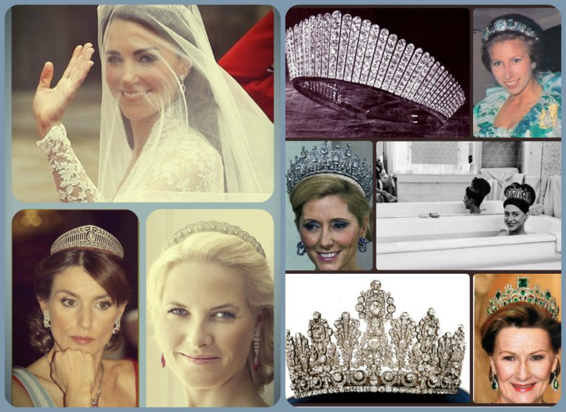 wedding tiaras, halo scrosclockwise from top left, duchess of cambridge halo scroll; Queen Alexandra's Diamond Kokoshnik, Princess Anne in the Aquamarine Pineflower, Princess Maragaret in the Poltimore, Crown Princess Marie Chantal in Queen Frederika's, Queen Sonja in Josésphine's Emeralds, the Luxemburg Empire Tiara, Crow Princess Metit Marit in the Diamond Daisy and Letizia, Princess of Austurias in the Prussian Diamond.