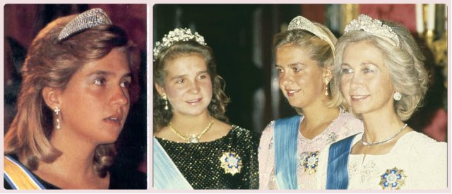 la infanta Cristina (left and right) in the Prussian Diamond Tiarala infanta Cristina (left and right) in the Prussian Diamond Tiara, joined by her sister Elena and Queen Sofia on right