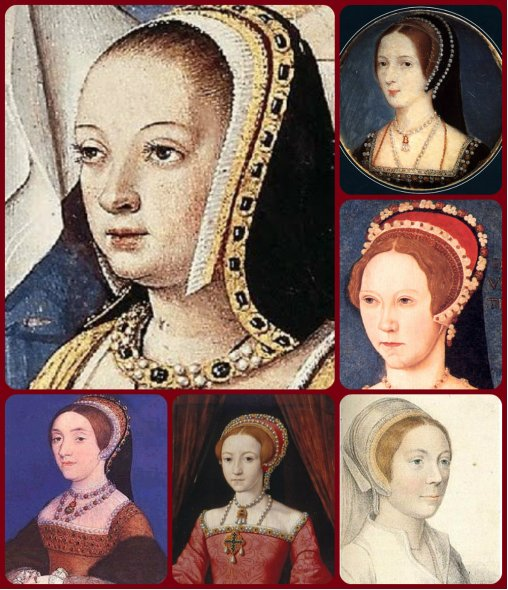 "six queens wearing the French hood: Anne of Brittany, (clockwise from top-right) Anne Boleyn, then-Princess Mary Tudor, possible watercolor of Katherine Howard, then-Princess Elizabeth Tudor, ""verified"" portrait of fifith wife Katherine Howard"
