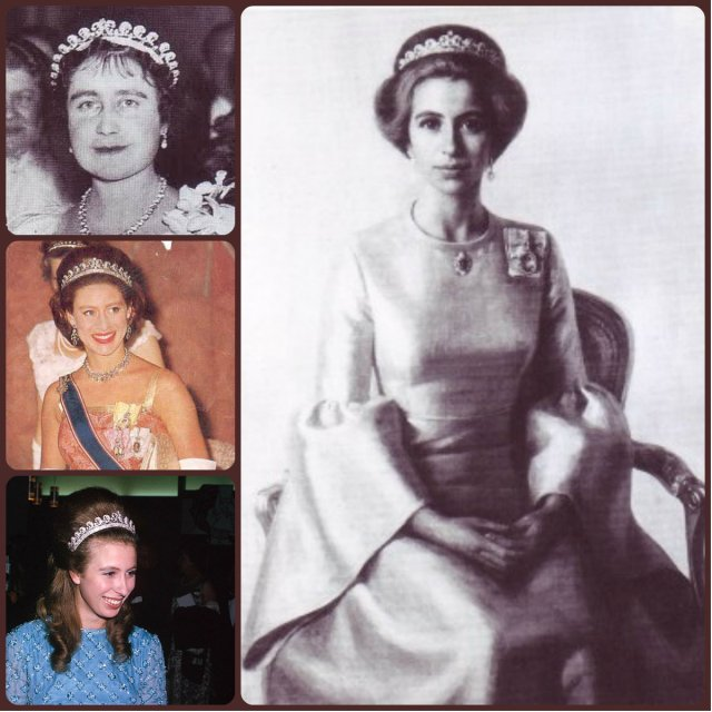 halo scroll tiara; queen mum, princess margaret, princess anne