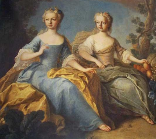 maria antonia and her sister maria carolina (future queen of naples)