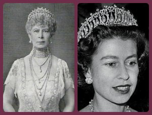 mary and elizabeth ii in the cambridge lovers knot tiara