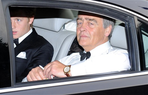 the sixth duke of westminster with is son, Hugh, Earl Grosvenor, the earl's birthday, 19 January, 2012