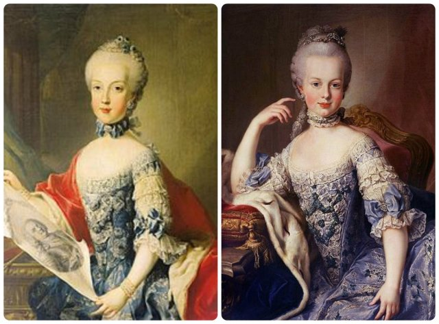 Maria Carolina and Marie Antoinette (future queens of Napes and France, respectively)