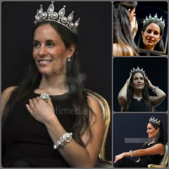 the Rosebery Tiara modeled by a Christie's Auction Employee