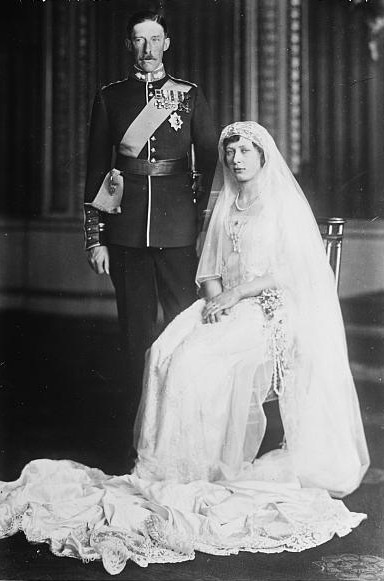 Princess Mary and future Earl of Harewood on wedding day Feb. 28 1922