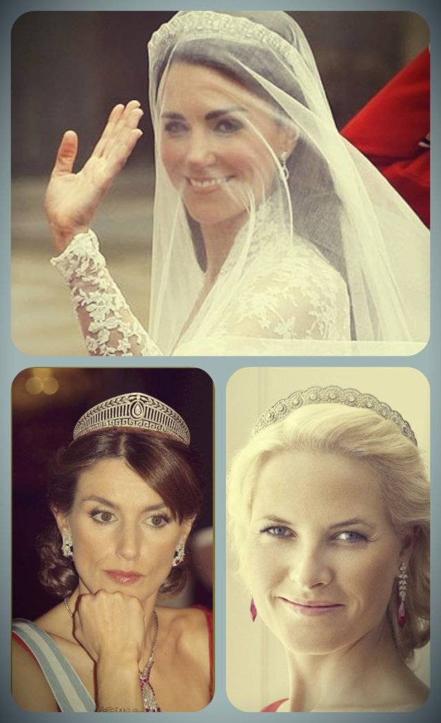 wedding tiaras: the Halo Scroll Tiara; the Diamond Daisy Tiara; the Prussian Diamond Tiara