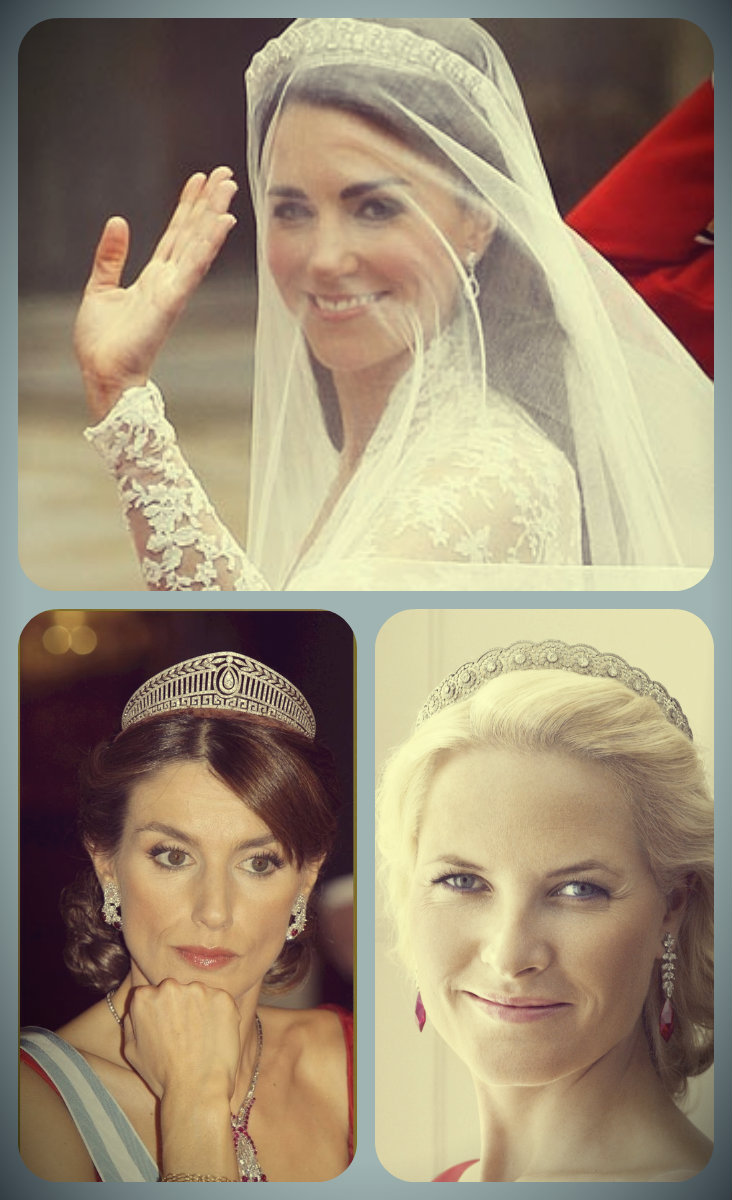 duchess of cambridge, halo scroll tiara; crown princess metit marit, diamond daisy tiara; princesa letizia, prussian diamond tiara