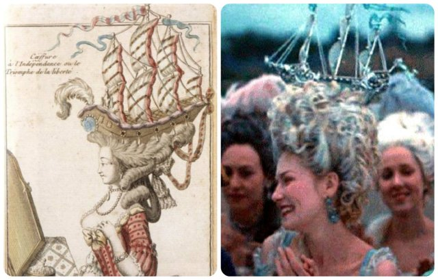 this coiffure for the 2006 Marie Antoinette film was clearly copied from the French Fashion Caricature: the boat pouf