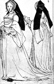 tudor dress, gable hood, front and back