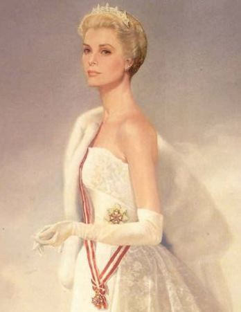 Portrait of Princess Grace wearing the Cartier Diamond and Pear Tiara