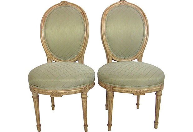 Louis XVI-style slipper chairs