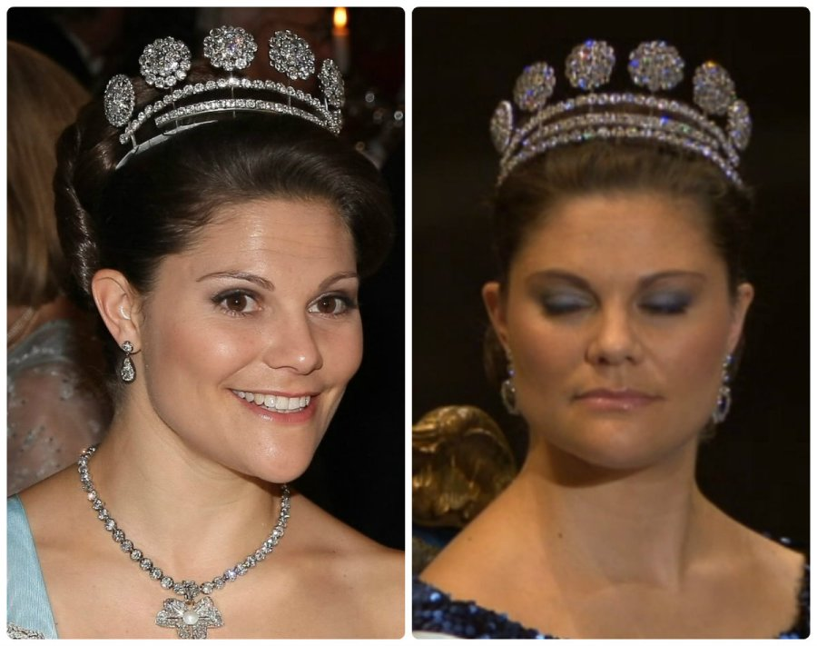 six button tiara with and without rivière