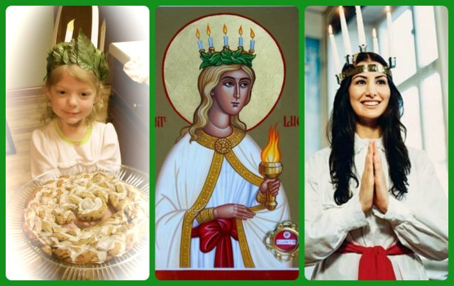 st lucia (center) is still celebrated in Scandanavia and Eastern Europe on December 13th