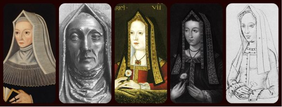 steeple hood: Margaret Beaufort, Elizabeth of York, Margaret Tudor