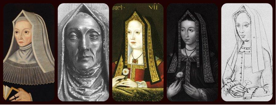 steeple hood: Margaret Beaufort, Elizabeth of York, Margaret Tudor