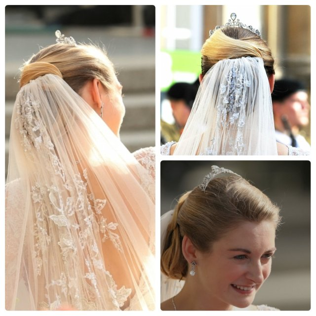 the countess stephanie chose lace for her wedding veil and the Lannoy got away, HEY!