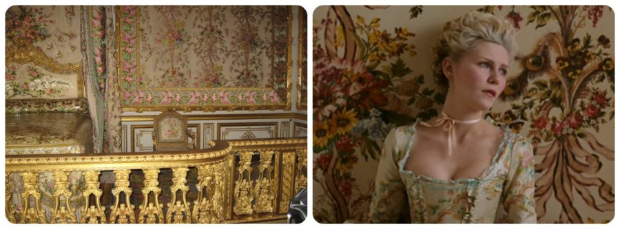 marie antoinette's bedroom at Versailles and the wallpaper dress
