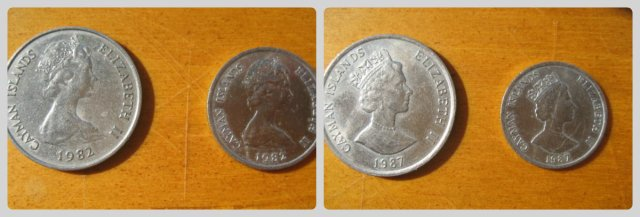 Cayman 1982 (Oriental Circlet Tiara) vs 1987 (King George IV Diadem) 50 cent piece