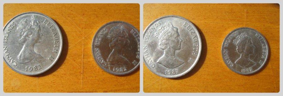 Cayman 1982 (Oriental Circlet Tiara) vs 1987 (King George IV Diadem) 50 cent piece