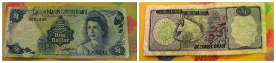 Cayman Islands One Dollar Bill with QE2 in the Queen Alexandra Kokoshnik