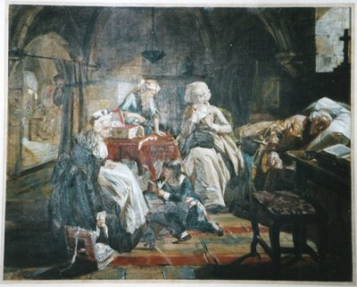 King Louis XVI and Marie Antoinette imprisioned in the Tower with their family
