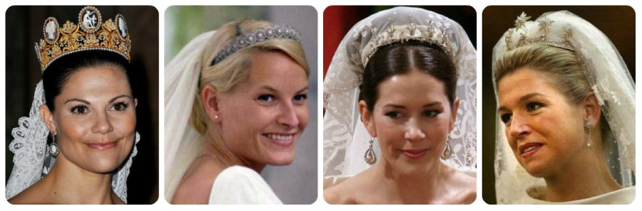 wedding tiaras of the crown princesses victoria, mette-marit, máxima and mary