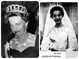 Beatríz de Torlonia and an old Spainsh newspaper featuring Olimpia's wedding, both in the Aquamarine Tiara, sans aquamarines