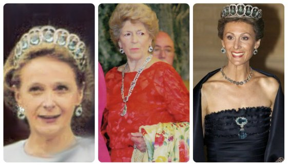 Olimpia and Sandra Torlonia and Sibilla of Luxembourg all in Ena's Aquamarine Tiara