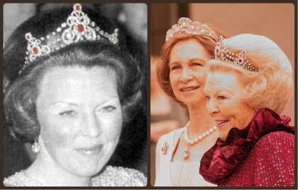 Queen Beatrix in the Mellerio Ruby Tiara and (right) sharing a joke with Queen Sofia while they wear their Mellerio tiaras