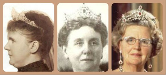 Queens of the Netherlands in Mellerio Ruby Tiara: Emma, Wilhelmina and Juliana