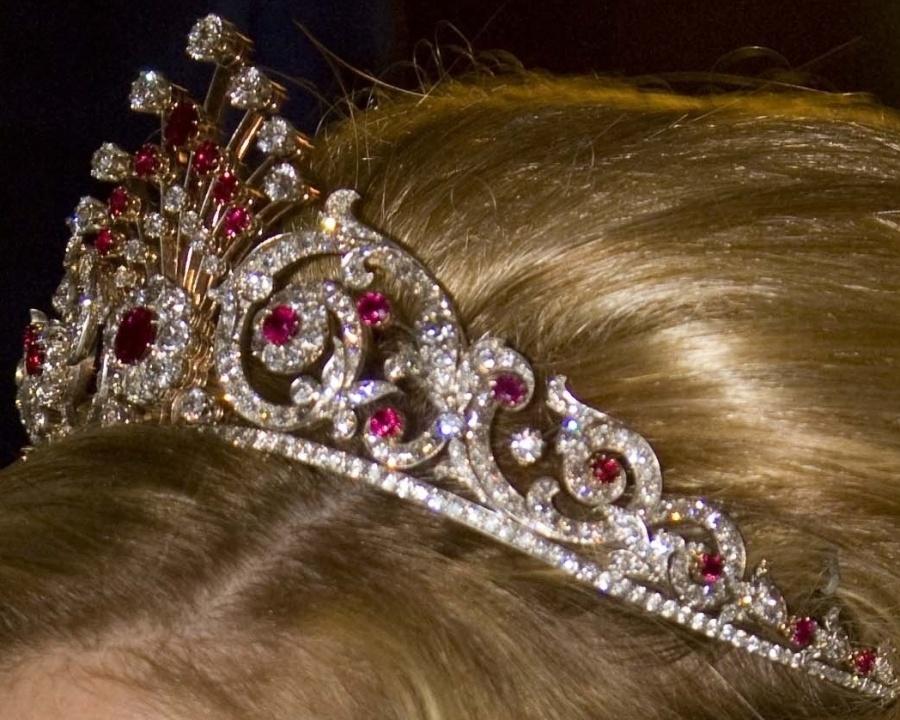 peacock tail tiara close up