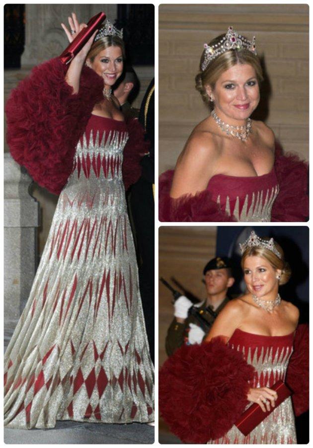 Princess Maxima in Mellerio Rubies at Luxemborg wedding 2012