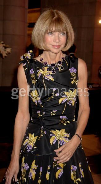 Anna Wintour in Queen Mary's Amethyst necklace.
