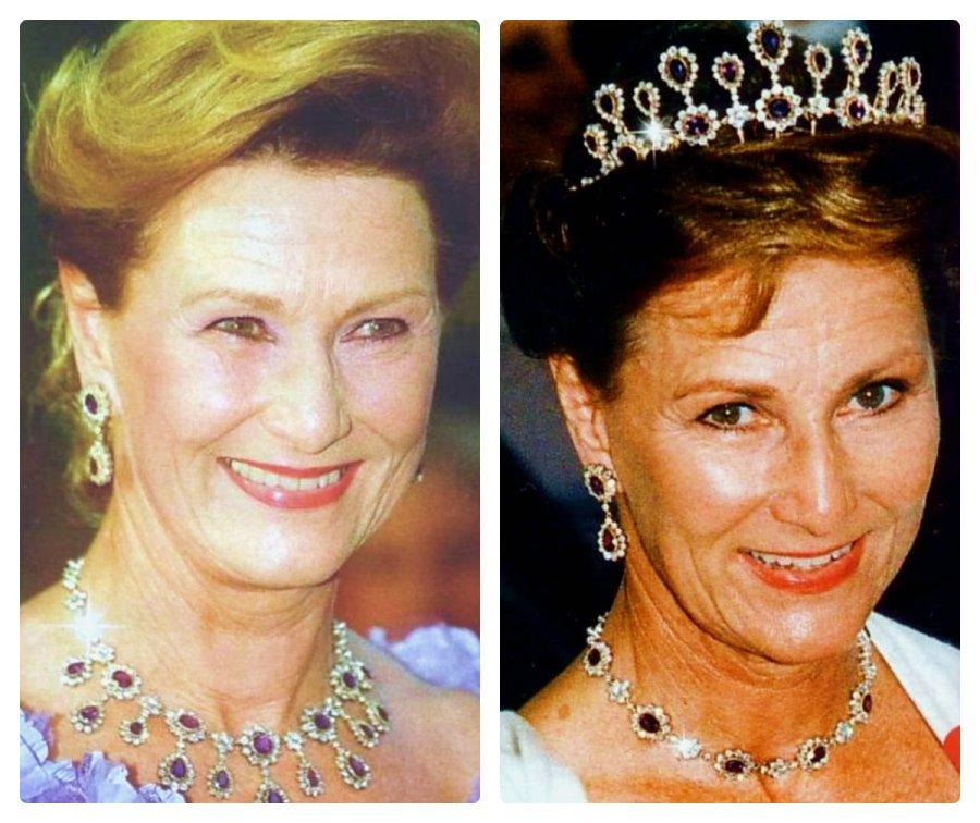 queen sonja of norway in amethyst necklace tiara