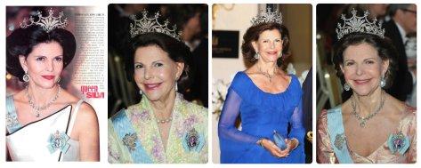 Queen Silvia of Sweden in Nine Prong Tiara