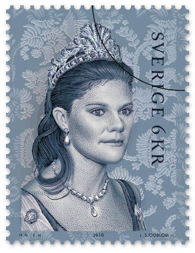 steel cut tiara crown princess victoria of sweden postage stamp