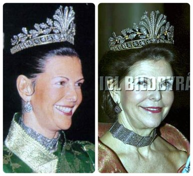 Queen Silvia of Sweden Steel Cut Tiara with necklace and Earrings