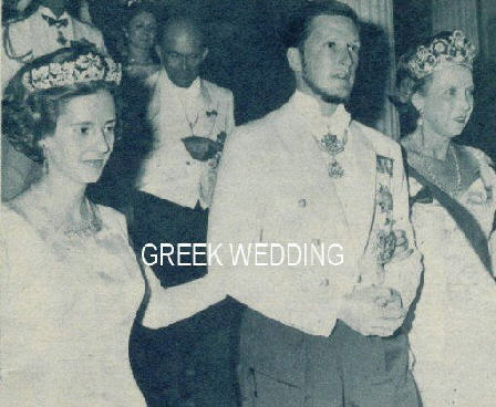 Queen Fabiola wear the Spanish Wedding Gift Tiara at a 1964 wedding in Greece