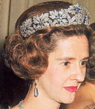 Queen Fabiola in the Spanish Wedding Gift Tiara with Aquamarines