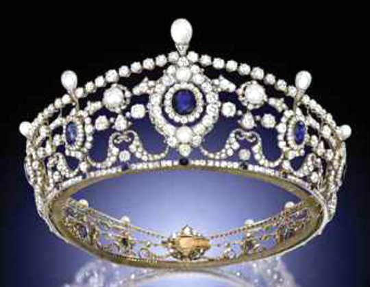 the portland antique sapphire diamond and natural pearl tiara