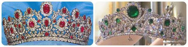 the two tiaras by Bapst: the Ruby and Emerald